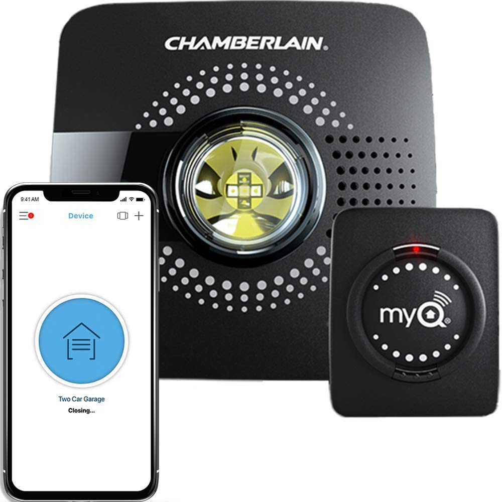 MyQ Smart Garage Door Opener Chamberlain MYQ-G0301 - Wireless & Wi-Fi enabled Garage Hub with Smartphone Control, 1 Pack, Black - -