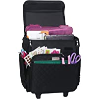 Everything Mary Collapsible Rolling Craft Bag, Black Quilted - Tote with Wheels for Scrapbook & Art Storage - Organizer…