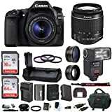 Canon EOS 80D Digital SLR w/18-55mm f/3.5-5.6 Lens & Bower TTL Flash & Battery Grip Bundle