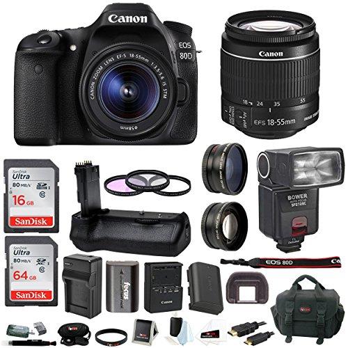 Canon EOS 80D Digital SLR w/18-55mm f/3.5-5.6 Lens & Bower TTL Flash & Battery Grip Bundle -  ACAN80D1855K2