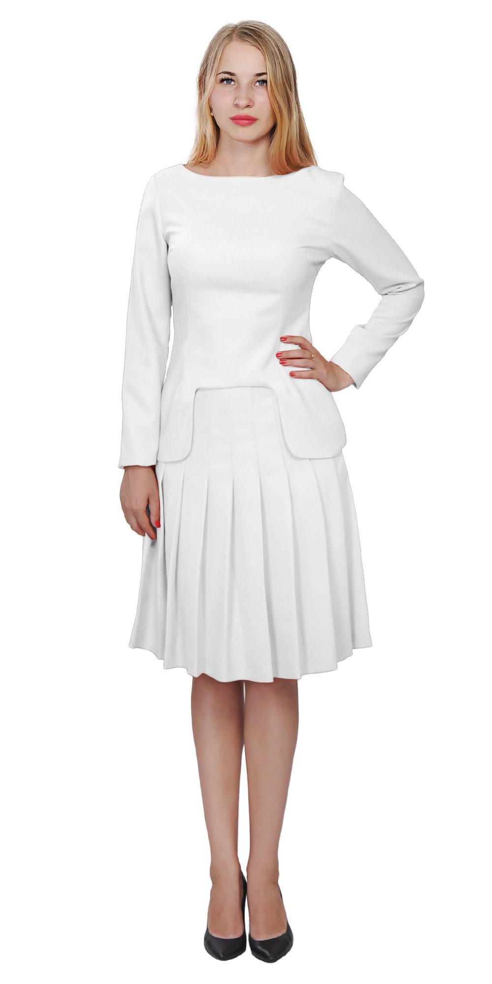 Marycrafts Womens Church Office Business Skirt Suits W Long Sleeves 18 White