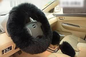 Leacree 3 pcs set de lana larga de la felpa del volante del coche caliente del encanto de la cubierta del freno de mano de accesorios