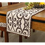 Brief style 100% cotton handmade brown flower off white table runner 12 inch * 72 inch approx