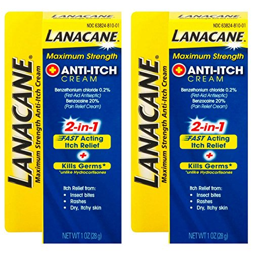 Acting Anti Itch - Lanacane Maximum Strength Anti-itch Cream, 1 oz, 2in1 Fast Acting Itch Relief and Kills Germs (Pack of 2)