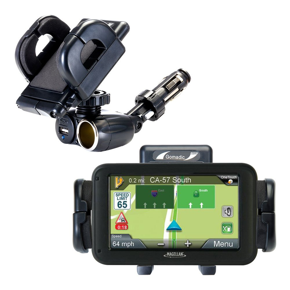 Unique Auto Cigarette Lighter and USB Charger Mounting System Includes Adjustable Holder for the Magellan Roadmate 6615-LM / 6620-LM