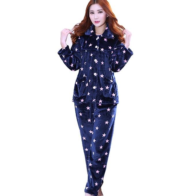 Fancy Pumpkin Pijamas de Franela de Mujer más Gruesa Cálida Traje de Bata # 21