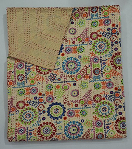 The Ethnic Crafts Beige Floral Print Handmade Suzani Kantha Quilt, Indian Traditional Home Decor Kantha Bed-Cover, Queen Size Blanket (Quilt Suzani)