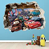 Adhesivo de pared de la película de Disney Cars. Dormitorio para niños y niñas