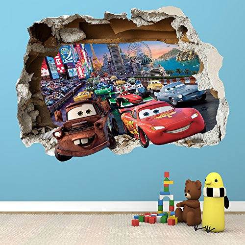DISNEY CARS SMASHED WALL STICKER   BEDROOM BOYS GIRLS VINYL WALL ART