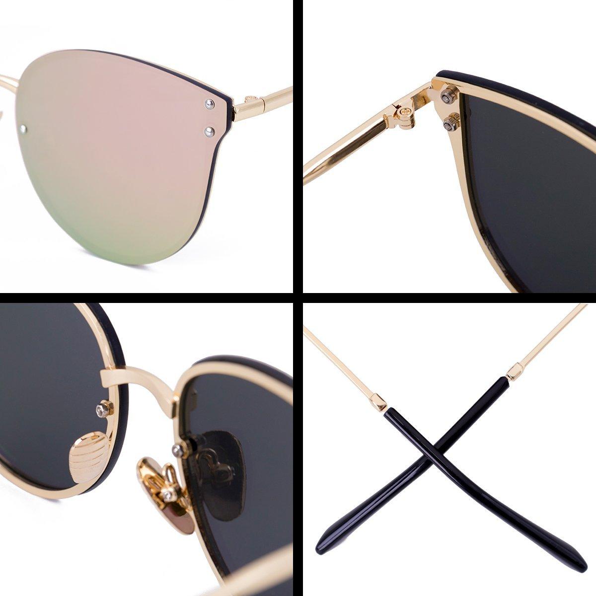 WISH CLUB Women Pink Oversized Cat Eye Sunglasses Designer Rimless Flat Mirrored Lenses Glasses …