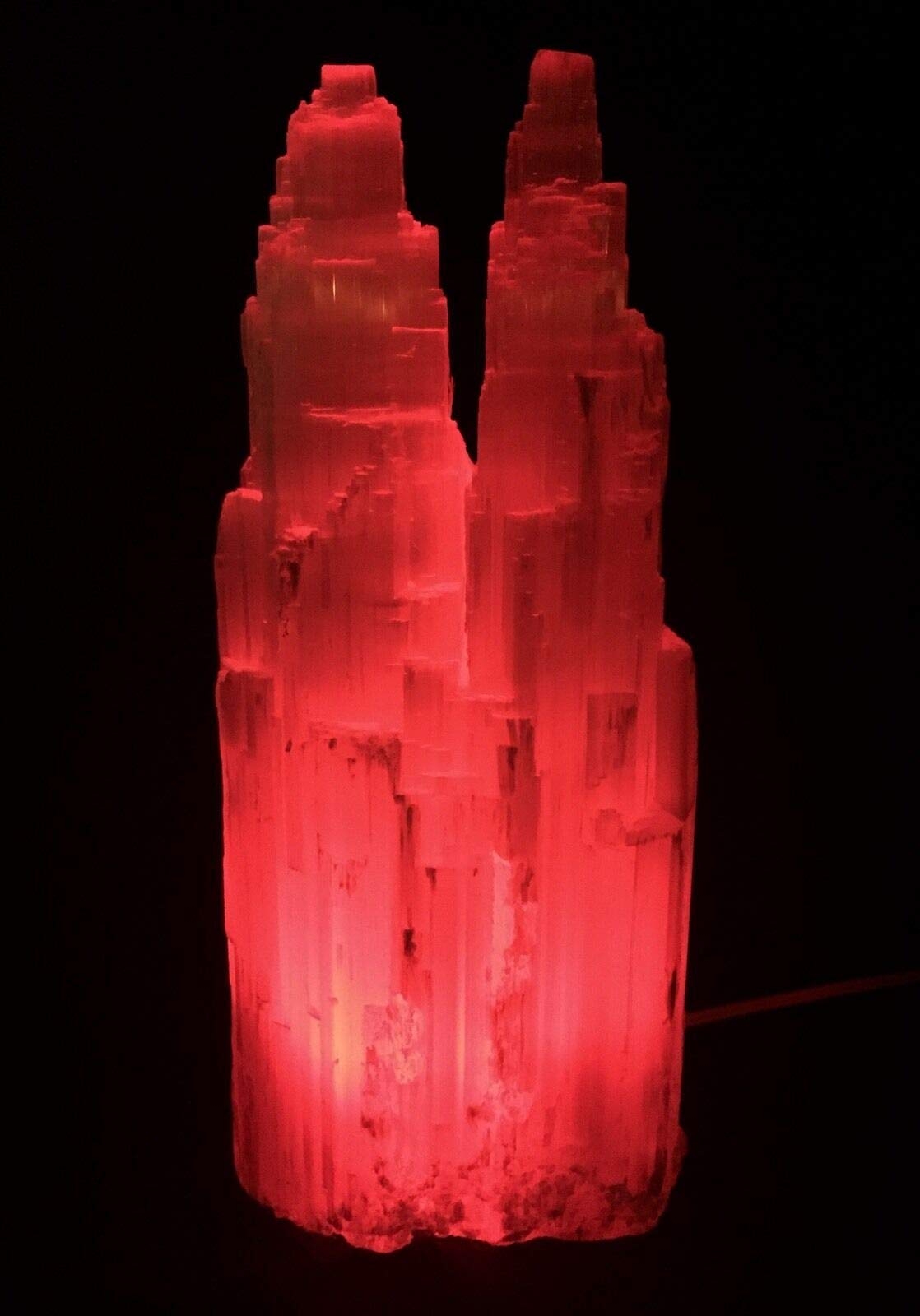 Large Selenite Lamp W/Cord Red LED Bulb Selenite Crystal Tower Two Point Double.Natural Crystals & Rocks for Cabbing, Cutting, Lapidary, Tumbling, Polishing, Wire Wrapping, Wicca by JumpingLight (Image #3)