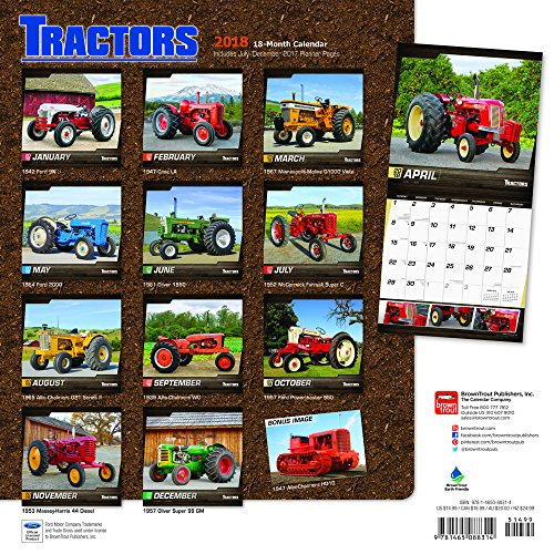 Tractors 2018 12 x 12 Inch Monthly Square Wall Calendar, Farm Rural Country