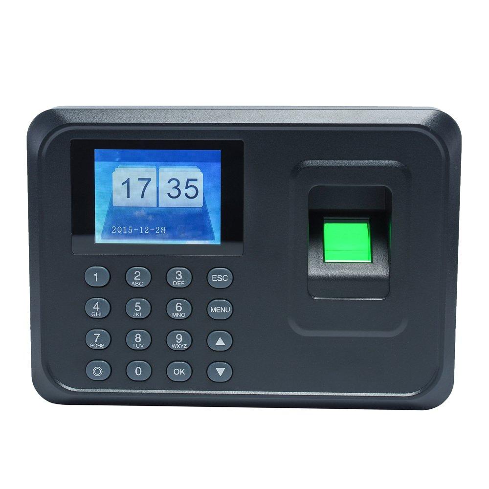 KKmoon Intelligent biometrico di Impronte Digitali Password Macchina di Presenza Dipendenti Check-in Recorder 2.4 pollici TFT LCD DC 5V Presenza di Tempo Clock (nero)