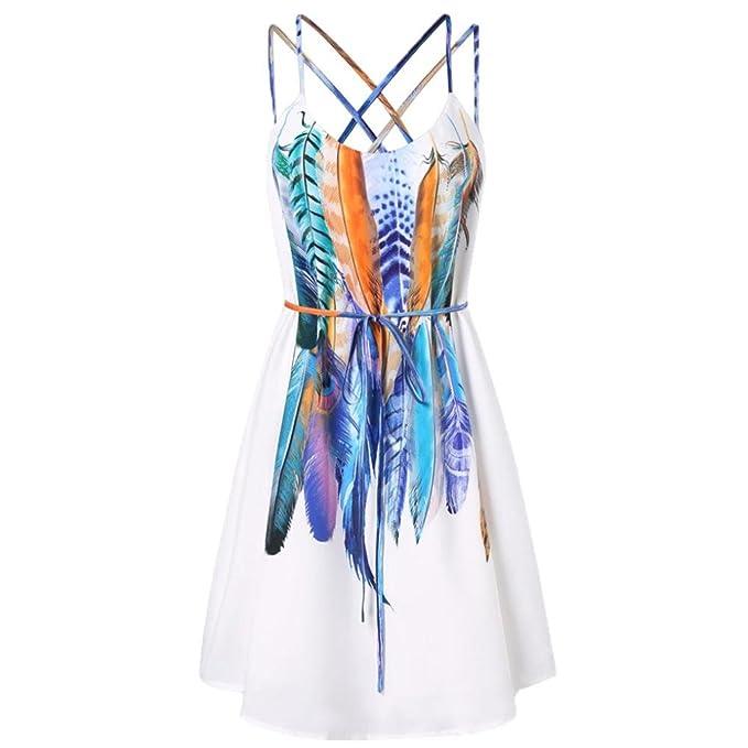 Vestido con Estampado de Plumas,Cami Impresa Ocasional Mujer Absolute