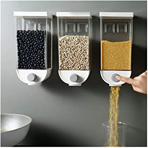 XBKPLO Wall Mount Dry-Food Dispenser Cereal Dispenser, Kitchen Food Storage for Beans Oatmeal Tea, Snack Grain Canister Food for Home, Kitchen, Breakfast, Pets, Cat Food, Dog Food, Candy
