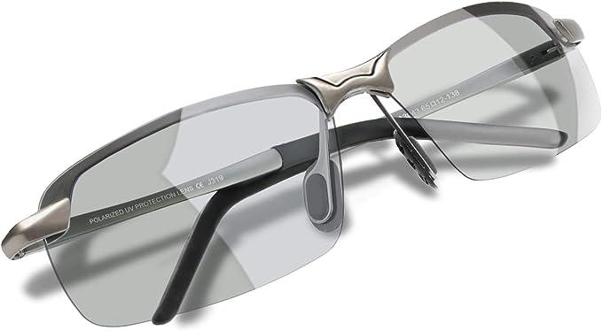WHCREAT Herren Fahren Sonnenbrille Polarisierte Photochromatisch Radfahren Draussen mit Ultraleichten AL-MG Rahmen