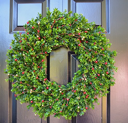 Elegant Holidays Handmade Faux Boxwood with Red & Gold Berries Wreath, Decorative Front Door to Welcome Guests-for Outdoor or Indoor Home Wall Décor, Great for Christmas and Winter 16-24 inches (Wreaths Gold Advent)