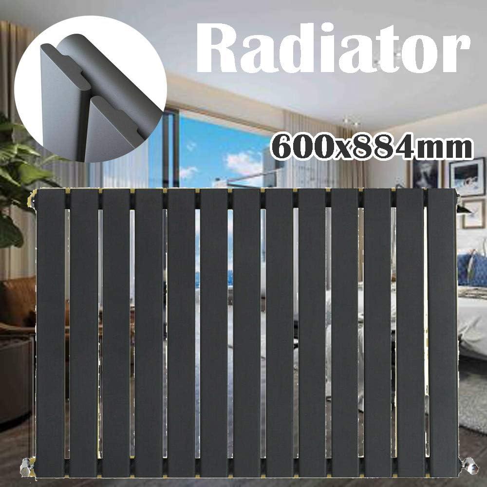 Radiador de diseño horizontal para sala de estar, 600 x 884 mm, panel plano moderno, calefacción para ahorro de espacio en el hogar, con soportes y fijaciones, 13 barras grises