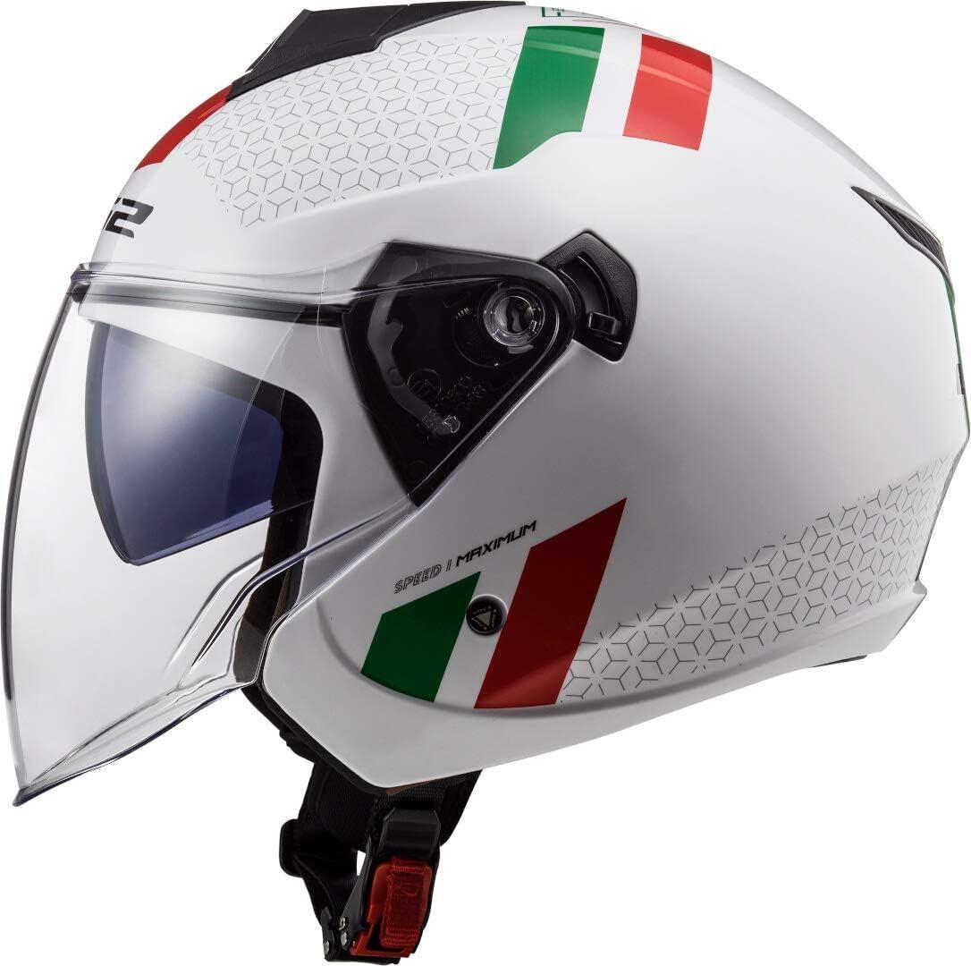 M Blanco//Verde//Rojo LS2 NC Casco per Moto Unisex-Adult