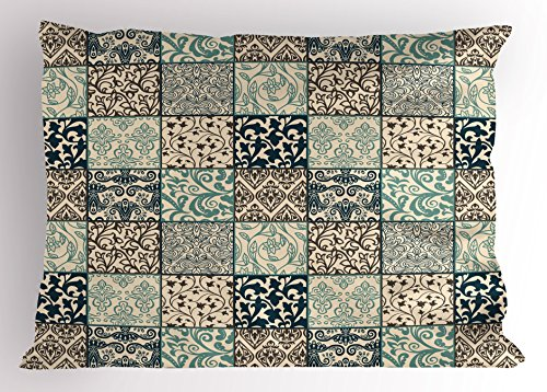 Flower Match Garden Patch (Patchwork Pillow Sham by Lunarable, Antique Mosaic with Victorian Garden Motifs Damask and Scroll Flower, Decorative Standard Size Printed Pillowcase, 26 X 20 Inches, Seafoam Brown Dark Blue)