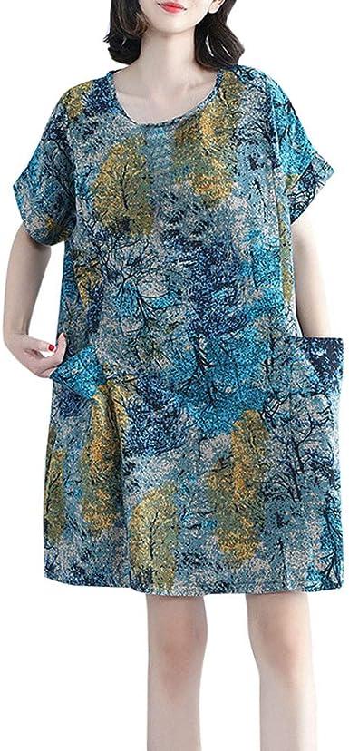 SHJIRsei Vestidos Mujer Verano, Vestido Suelto de Talla Grande Nuevo Vestido de Algodón y Lino para Mujer Verano Elegantes Cortos Playa Casual Vestidos Vestido ...
