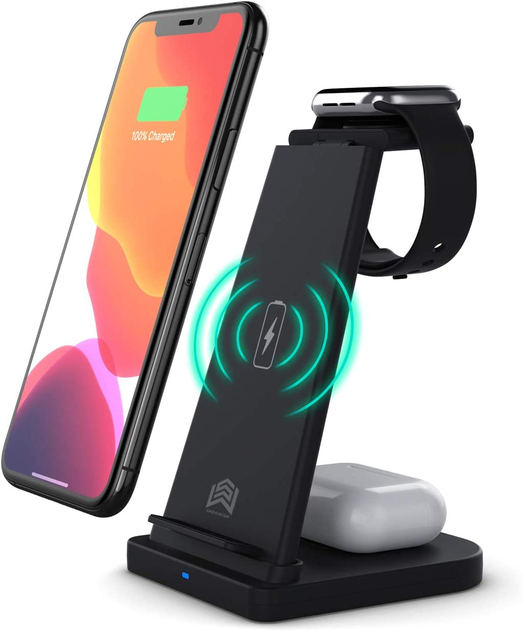 UCOS Wireless Charger,3 in 1 Wireless Charging Station for iWatch Apple Watch S6/5/4/3/2 AirPods Pro/2,Qi-Certified Fast Charging Stand Dock Compatible with iPhone 11/Pro Max/X/XS/XR/8/8 Plus