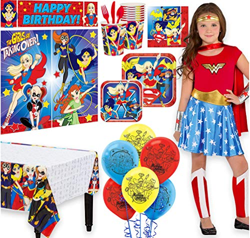 Warner Brothers Super Hero Girls Birthday Party Kit,Includes Wonder Woman Costume 8-10,Tableware,Décor,Balloons,Serves 8 -
