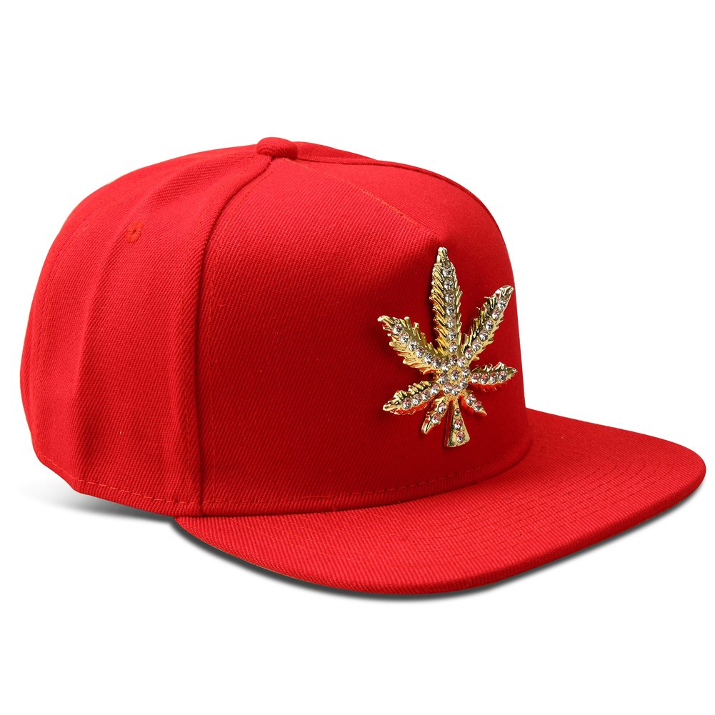 53912187e58 MCSAYS Fashion Hip Hop Style Crystal CZ Iced Out Weed Pendant Gan Marijna  Leaf Adjustable Snapback ...