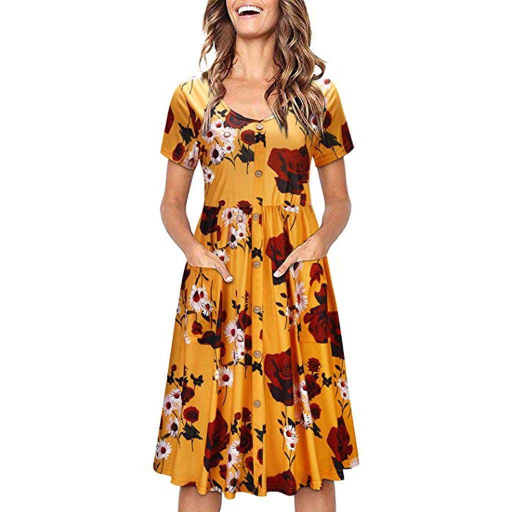 Women Printing Short Sleeve V Neck Button Down Skater Dress with Pockets Dress (L, Yellow)