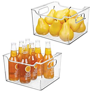 "mDesign Plastic Kitchen Pantry Cabinet, Refrigerator or Freezer Food Storage Bin with Handles - Organizer for Fruit, Yogurt, Snacks, Pasta - BPA Free, 10"" Long, 2 Pack - Clear"