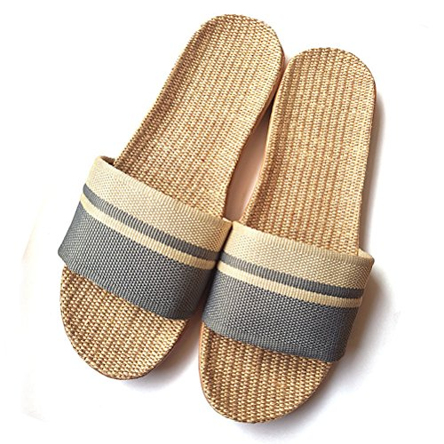 Striped Slippers Gray Skidproof Sandals Indoor Summer Unisex AODEW House Linen aUEpt