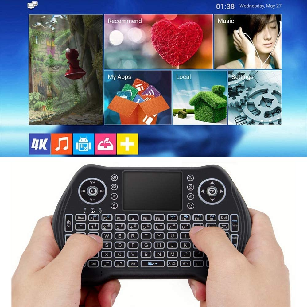 Calvas Backlit 2.4GHz Wireless Keyboard Touchpad Mouse Handheld Remote Control Backlight Keyboard for Android TV BOX Smart TV Notebook Color: With Li-ion Battery