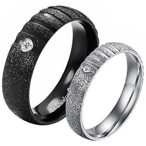 """JewelryWe Joyería Par de Alianzas de Boda Anillos de Compromiso Originales, De Moda """""""