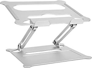 """Lvyinyin Laptop Notebook Stand Holder, Adjustable Riser, Aluminum, Compatible with MacBook Air Pro, Dell, HP, Lenovo, Surface, Chromebook and Gaming Laptops Up to 17"""", Silver"""