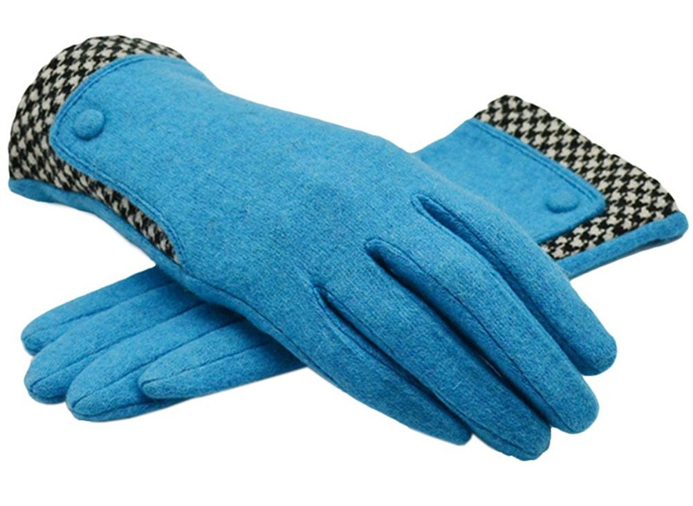 The Orient Bee Women's Unique Cashmere Gloves Mittens for Spring and Autumn(3 blue)