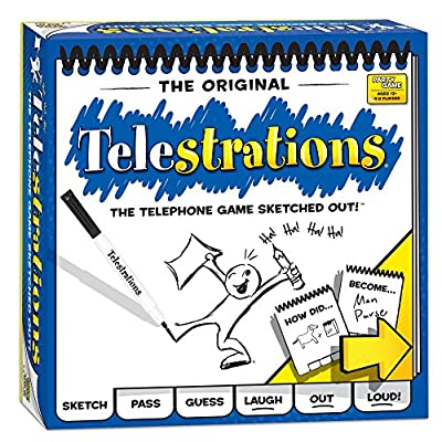 USAOPOLY Telestrations Original 8 Player   Family Board Game   A Fun Family Game for Kids and Adults   Family Game Night Just Got Better   The Telephone Game Sketched Out: Game: Toys & Games