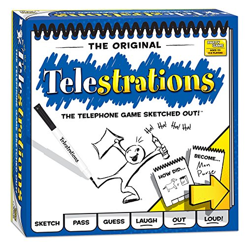 - USAOPOLY Telestrations Original 8 Player Board Game | #1 LOL Party Game | Play with Your Friends and Family | Hilarious Game for All Ages | The Telephone Game Sketched Out