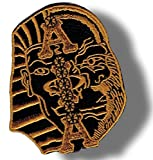 [Single Count] Custom and Unique (5'' Inch) Rounded Simple Basic Alpha Phi Alpha Egyptian Sphinx Greek Crest Swag Series Design Iron On Embroidered Applique Patch {Black, White, & Yellow Colors}