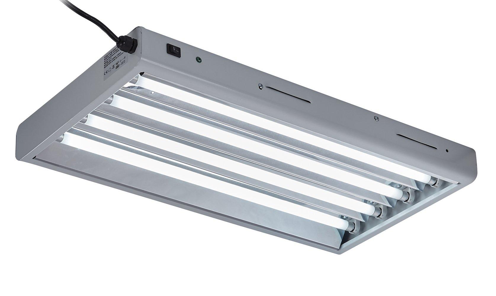 TopoLite T5 Grow Light 24W 54W 6500K Fluorescent HO 4 6 8 Bulbs Included for Indoor Growing T5 Grow Lights Fixtures (2FT/24W-4 lamp)