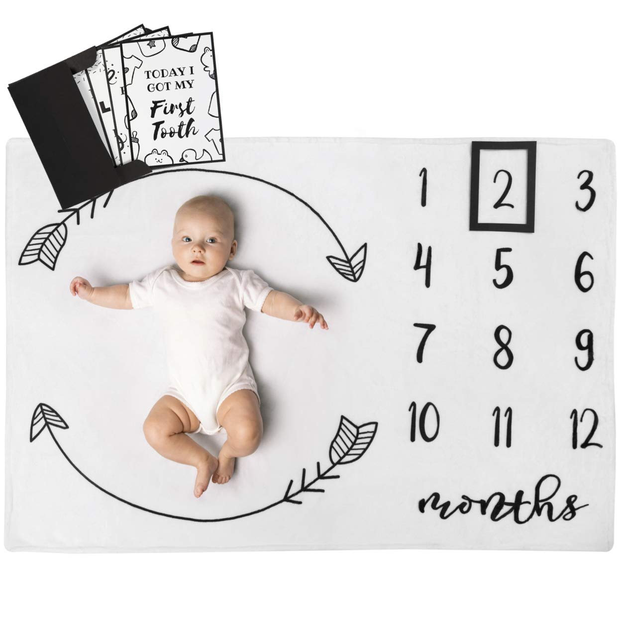 Henry Hunter Baby Monthly Milestone Blanket with Frame & Milestone Cards | Photography Prop for Baby Boy & Girl | 100% Premium Cotton Fleece | 40 x 30 inches (Arrows)