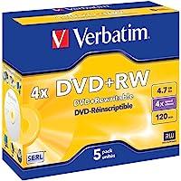 New VERBATIM 95043 DVD+RW 5PK Jewel CASE.