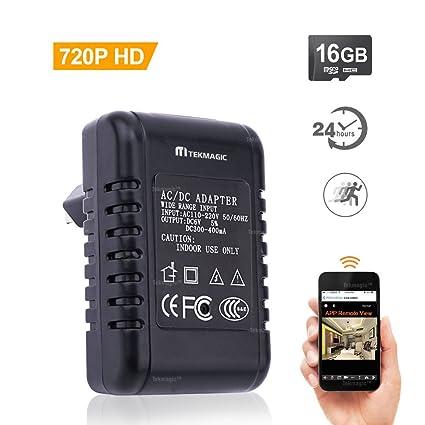 TEKMAGIC 16GB 1280x720P HD Inalámbrica WiFi Cámara Espía Adaptador de Corriente para Interiores Movimiento Activado Grabadora