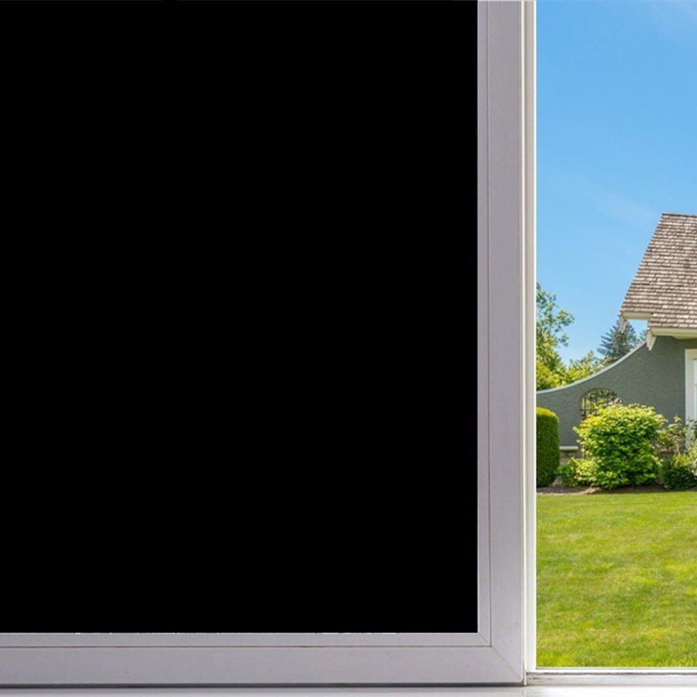 Velimax Static Cling Blackout Window Film Privacy Window Tint Black Stickers 100% Light Blocking Room Darkening No Glue 35.4'' x 78.7''(90CM 200CM)