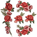 Satkago Embroidered Patch, 5Pcs DIY Embroidery Lace Flower Rose Sew On Patches Applique for Clothes T-shirt Jeans Skirt Vests Scarf Hat Bag