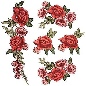 Satkago Bordados Parches para Ropa, 5Pcs DIY Rosa Flores Coser Parches Apliques para la Camiseta Jeans Sombrero Pantalon Bolsas