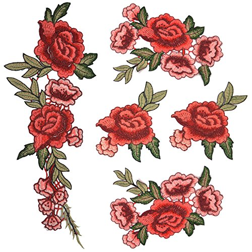 548679c988e32 Flower Patches Rose Patches, Satkago 5Pcs DIY Large Rose Embroidery Patches  Sew On Patches Flower