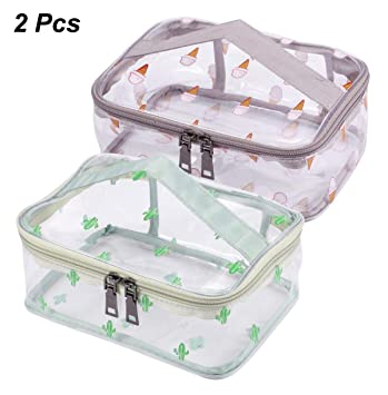769419e5c63a3b Amazon.com : WODISON 2 Packs Travel Clear Makeup Bag Set Tote Cosmetic  Train Case Portable Toiletry Pouch with Handle Middle : Beauty