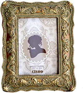 CISOO Vintage Picture Frame 2.5x3.5 Antique Photo Frame Table Top Display and Wall Hanging Home Decor (Bronze with Green Rust)