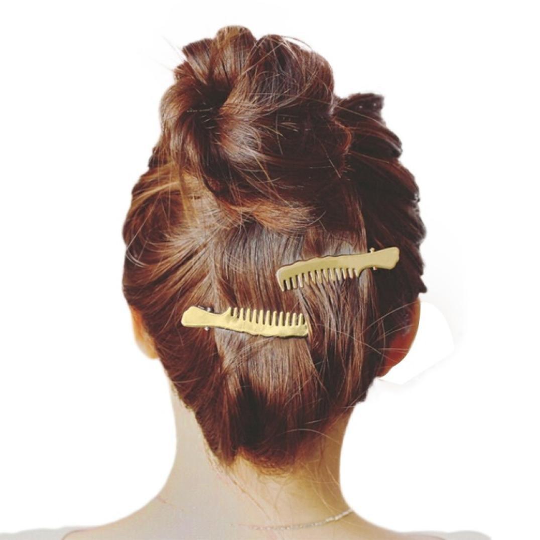 Staron 1Pair Women Hair Pins Clips Cute Comb Shape Headwear Accessories Headpiece (Gold)