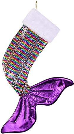 Sequins Mermaid Tail Stocking 20in NEW Metallic Pink